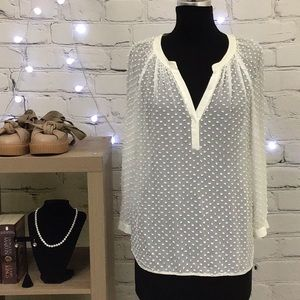 Rebecca Taylor Chiffon Dot Blouse Size Medium